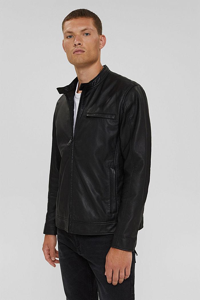 Bikerjacke aus 100% Leder, BLACK, detail image number 0