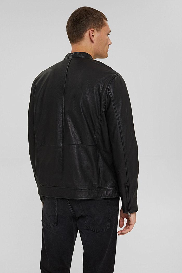 Bikerjacke aus 100% Leder, BLACK, detail image number 3