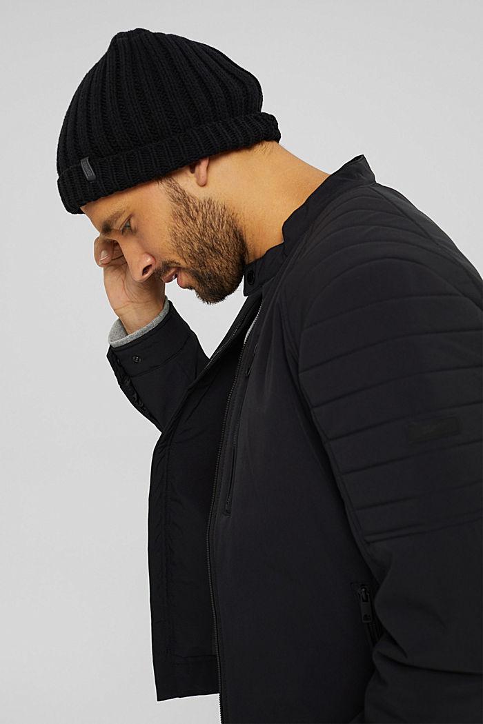 En matière recyclée: la veste style motard rembourrée, BLACK, detail image number 4