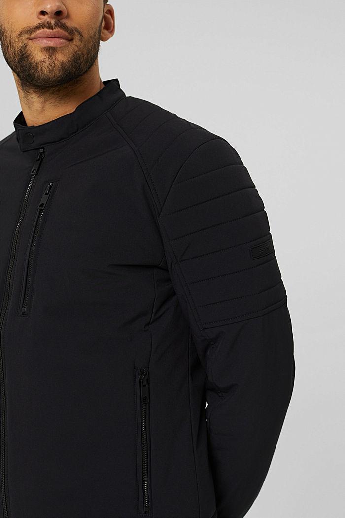 En matière recyclée: la veste style motard rembourrée, BLACK, detail image number 2