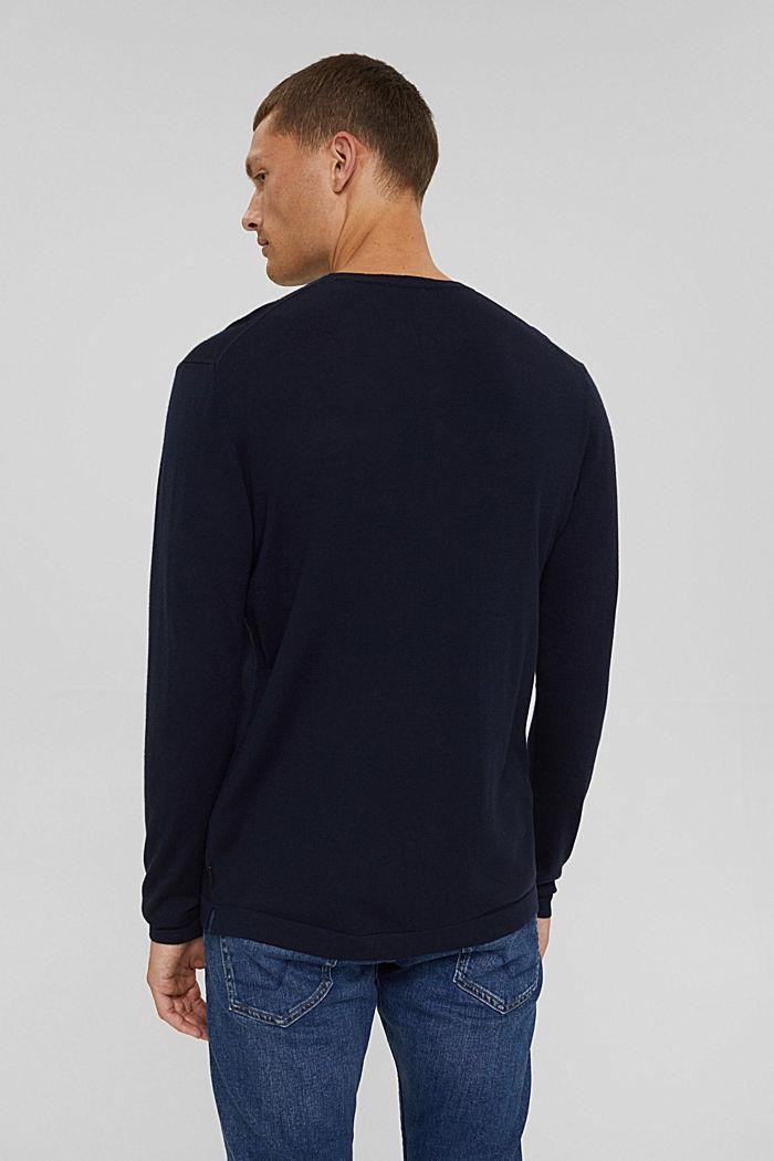 Met Responsible Wool: trui met ronde hals, NAVY, detail image number 3
