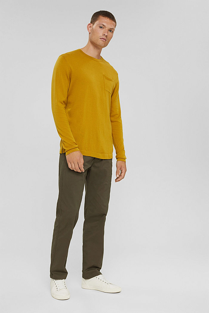 With responsible wool: crewneck jumper, YELLOW, detail image number 1