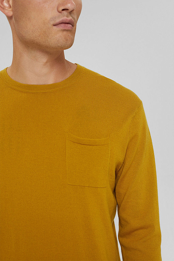 With responsible wool: crewneck jumper, YELLOW, detail image number 2