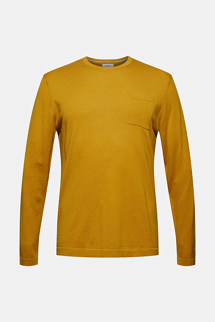 With responsible wool: crewneck jumper, YELLOW, detail image number 6