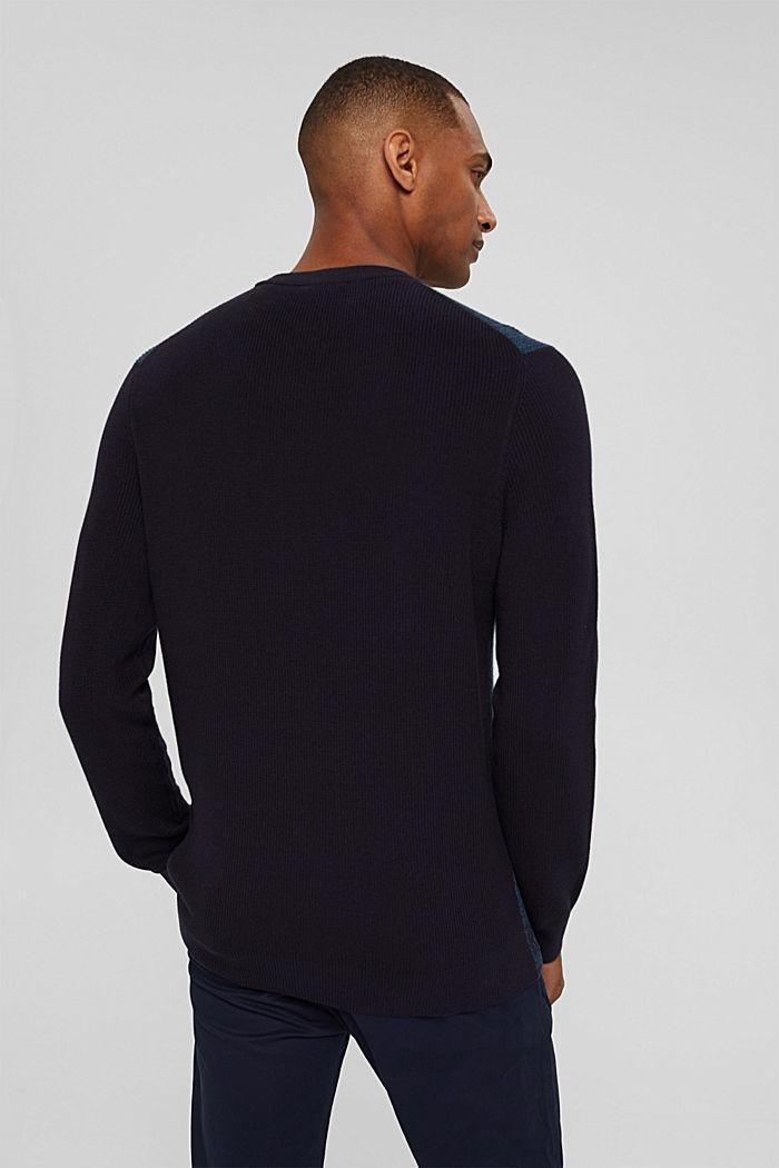 Zweifarbiger Pullover aus Organic Cotton, NAVY, detail image number 3
