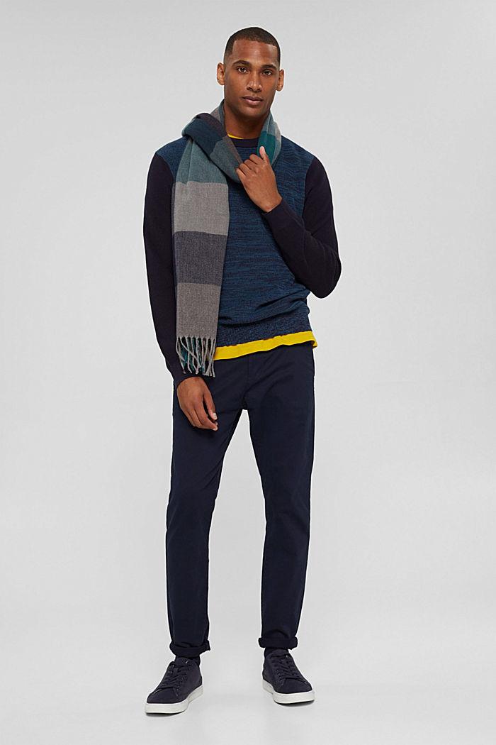 Zweifarbiger Pullover aus Organic Cotton, NAVY, detail image number 1