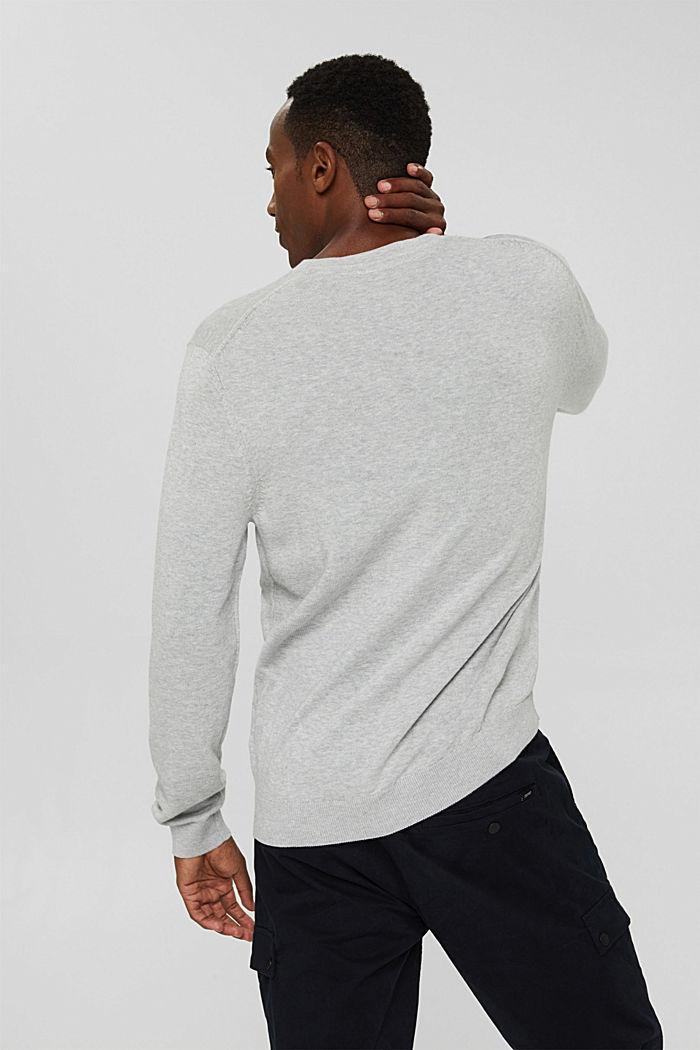 Rundhals-Pullover aus Pima-Baumwolle, LIGHT GREY, detail image number 3