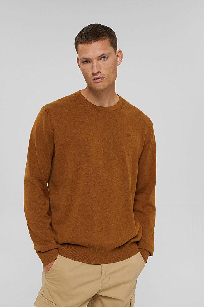 Pullover m. rund hals, af pima-bomuld