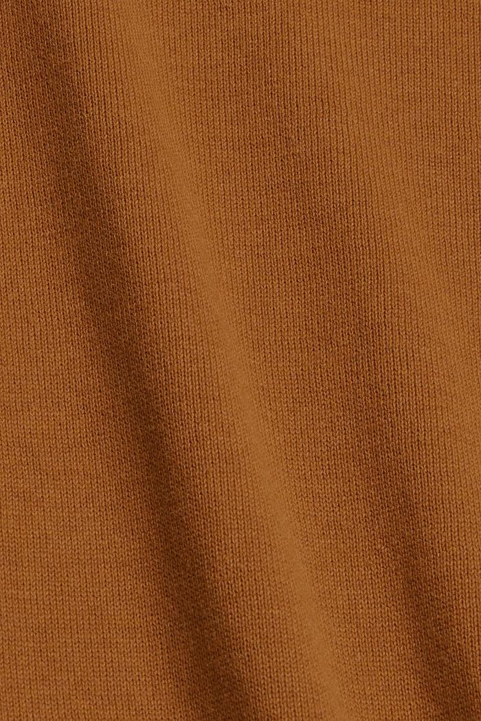 Trui met ronde hals, van pima katoen, CAMEL, detail image number 4