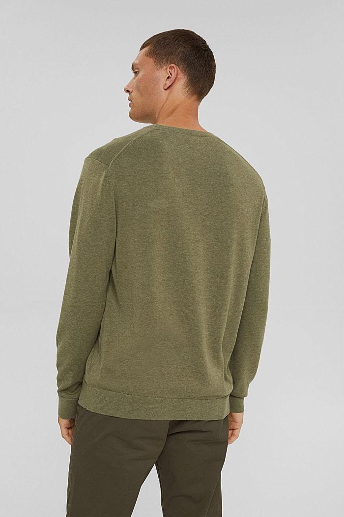 Crewneck jumper in pima cotton, PALE KHAKI, detail image number 3