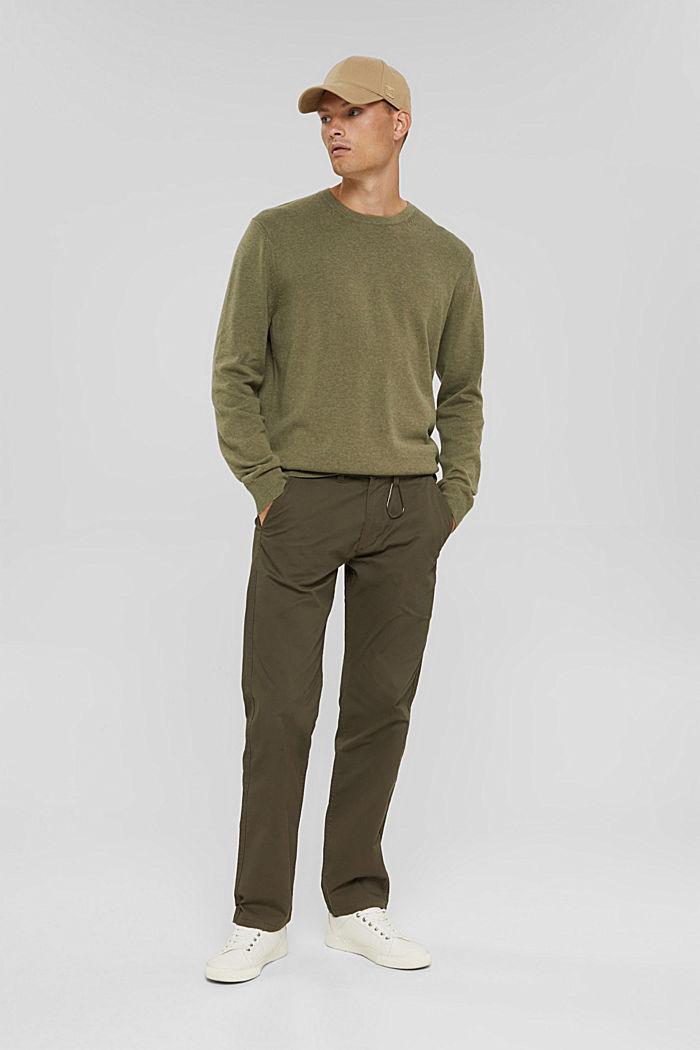 Crewneck jumper in pima cotton, PALE KHAKI, detail image number 1