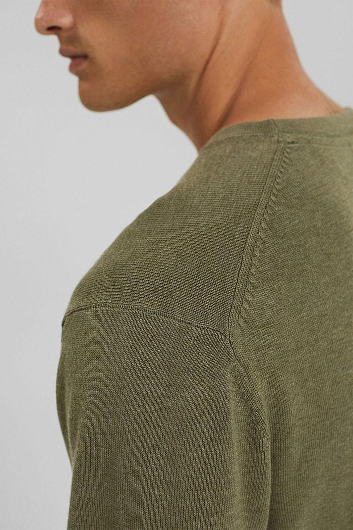 Crewneck jumper in pima cotton, PALE KHAKI, detail image number 2