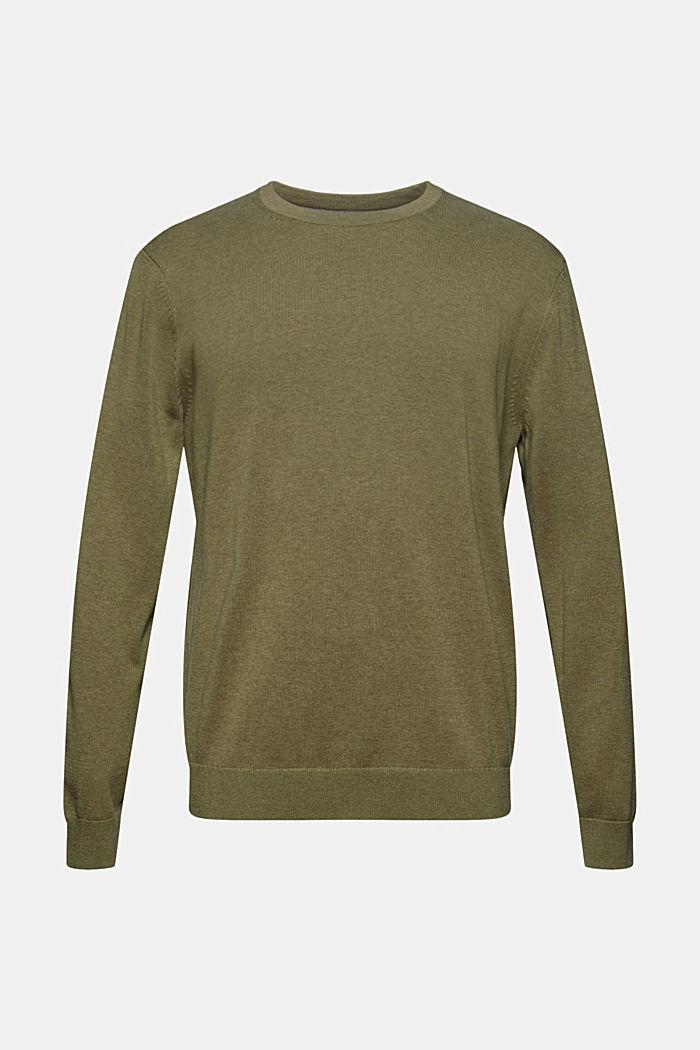 Crewneck jumper in pima cotton, PALE KHAKI, detail image number 6