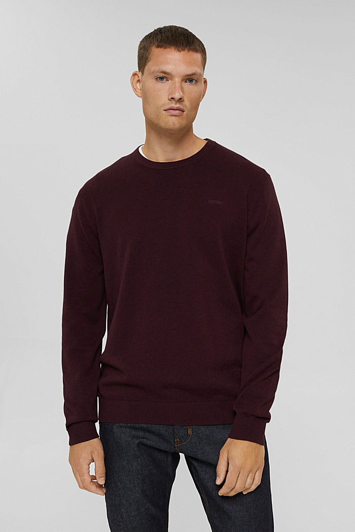 Rundhals-Pullover aus Pima-Baumwolle, BORDEAUX RED, detail image number 0