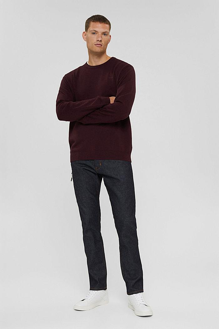 Rundhals-Pullover aus Pima-Baumwolle, BORDEAUX RED, detail image number 1