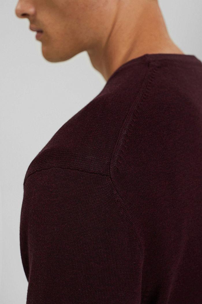 Rundhals-Pullover aus Pima-Baumwolle, BORDEAUX RED, detail image number 2