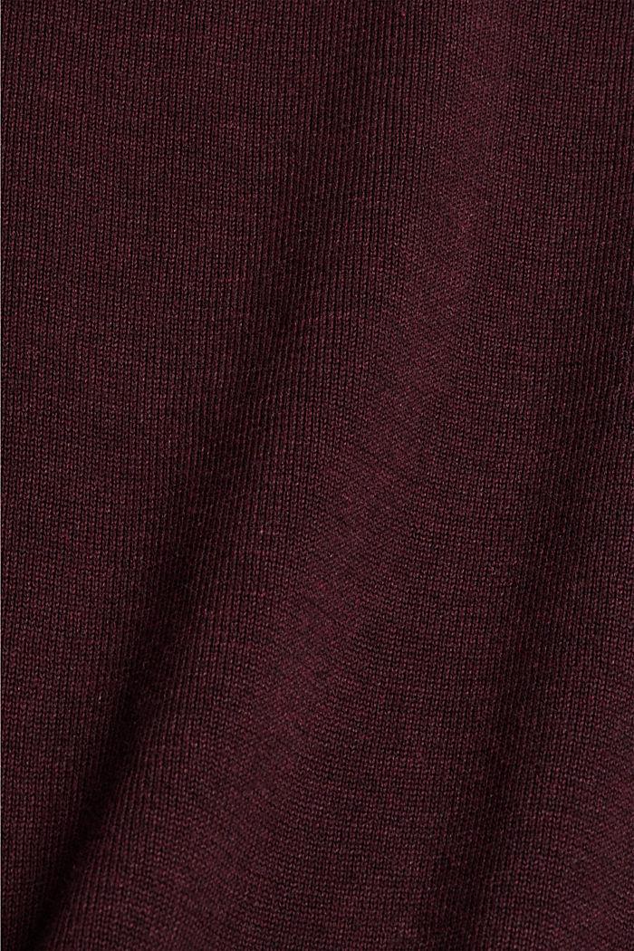 Rundhals-Pullover aus Pima-Baumwolle, BORDEAUX RED, detail image number 4