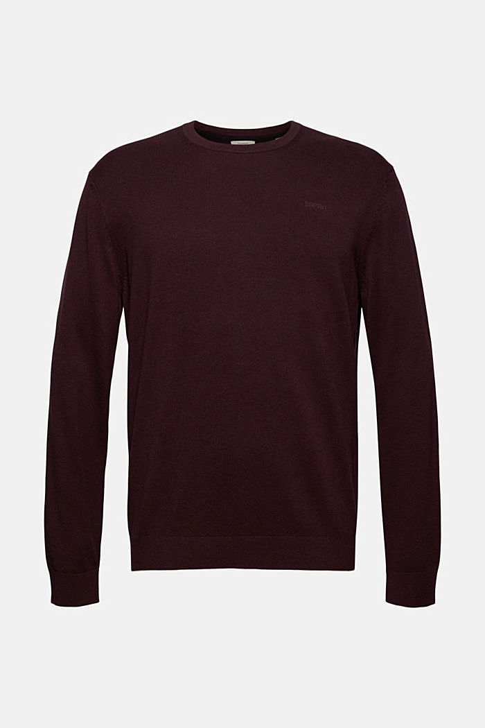 Rundhals-Pullover aus Pima-Baumwolle, BORDEAUX RED, detail image number 6