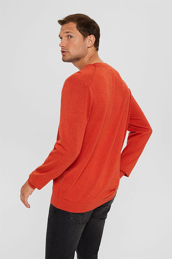 Rundhals-Pullover aus Pima-Baumwolle, ORANGE , detail image number 3