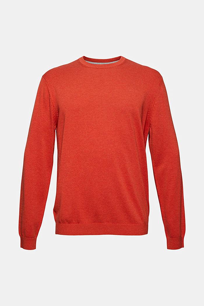 Rundhals-Pullover aus Pima-Baumwolle, ORANGE , detail image number 6