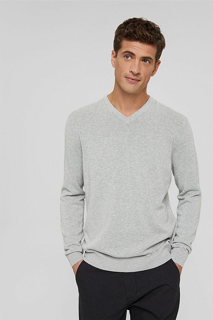 V-neck jumper made of 100% pima cotton, LIGHT GREY, detail image number 0