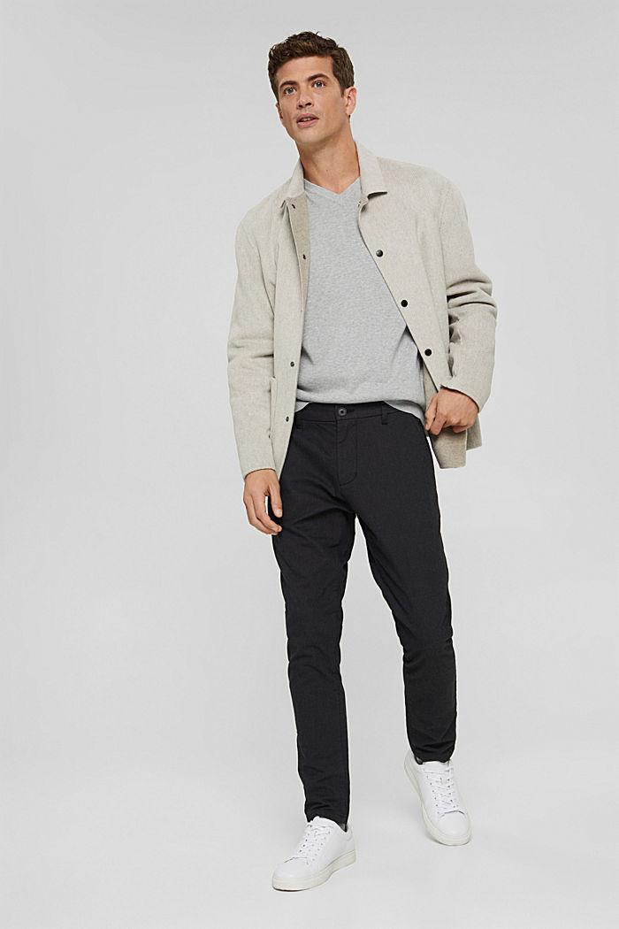 V-neck jumper made of 100% pima cotton, LIGHT GREY, detail image number 1