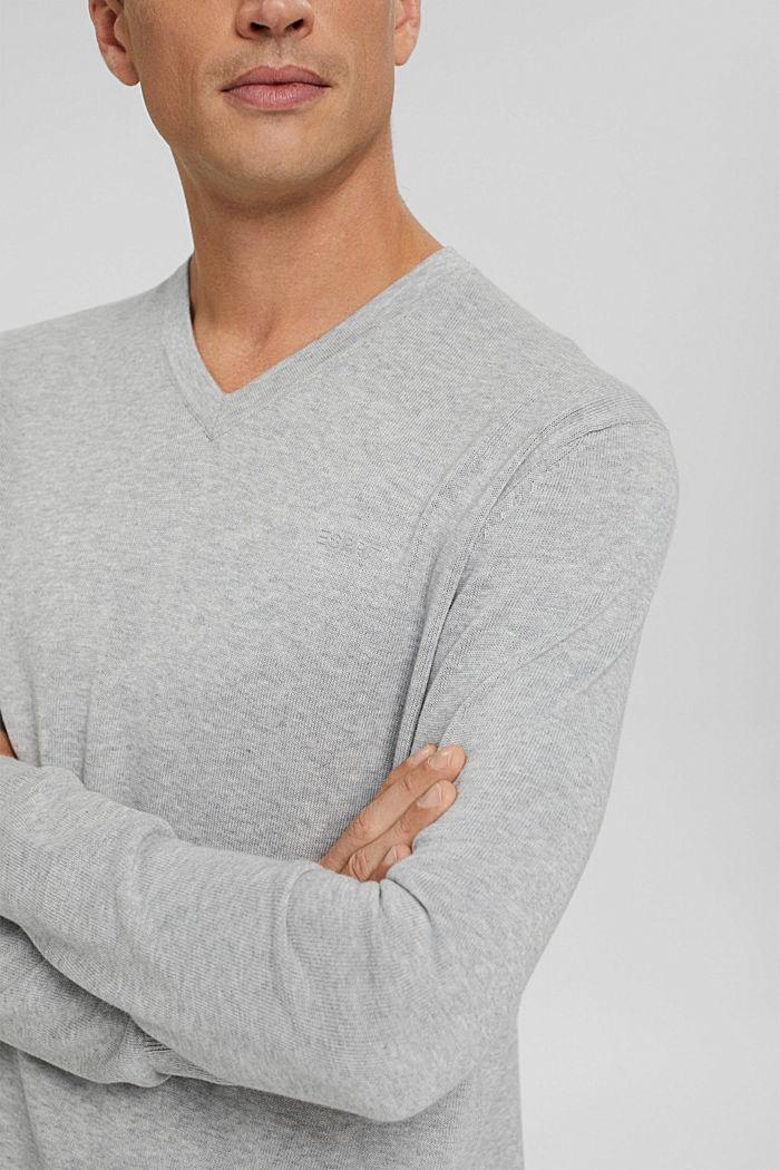 V-neck jumper made of 100% pima cotton, LIGHT GREY, detail image number 2