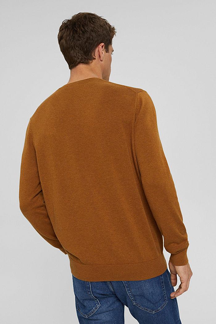V- Neck Pullover aus 100% Pima Cotton, CAMEL, detail image number 3