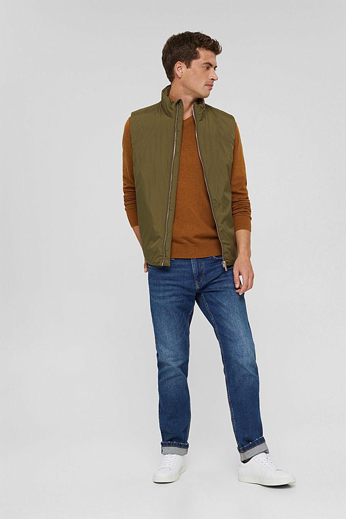 V- Neck Pullover aus 100% Pima Cotton, CAMEL, detail image number 1
