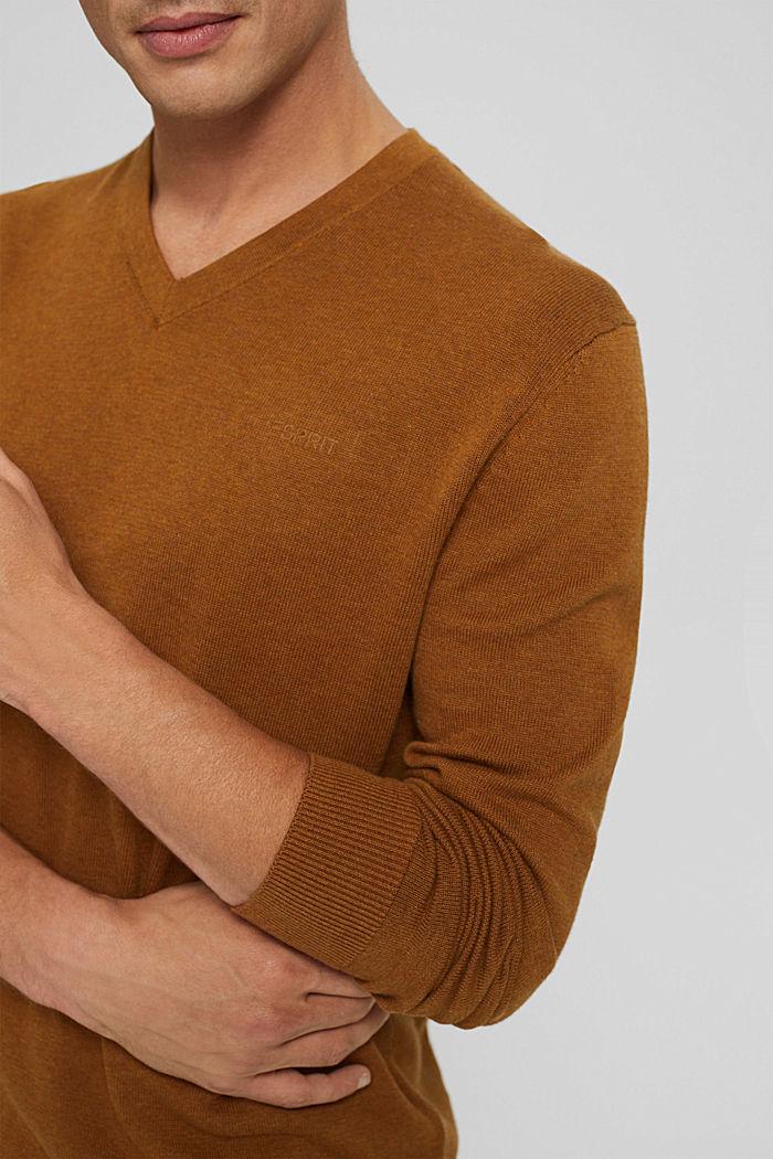 V- Neck Pullover aus 100% Pima Cotton, CAMEL, detail image number 2