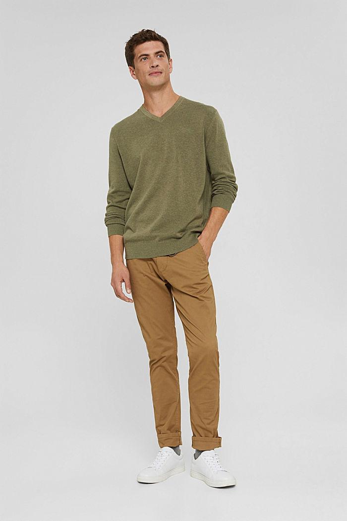 V- Neck Pullover aus 100% Pima Cotton, PALE KHAKI, detail image number 1