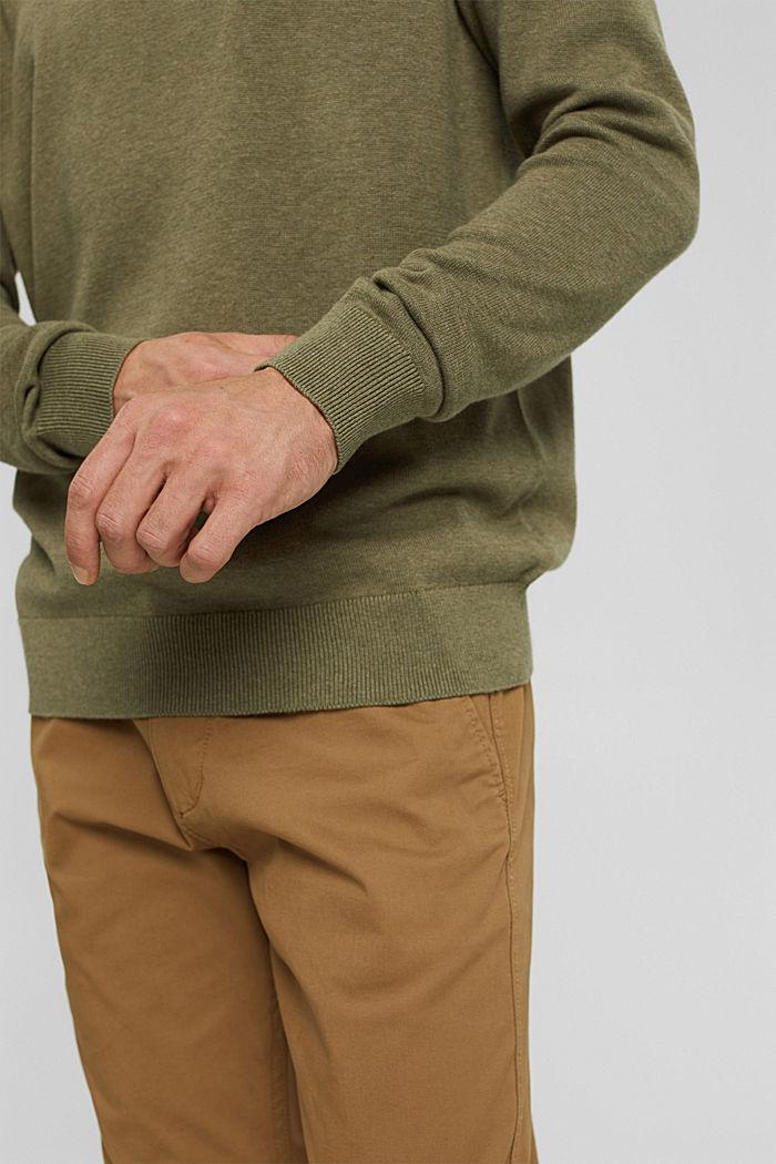 V- Neck Pullover aus 100% Pima Cotton, PALE KHAKI, detail image number 2