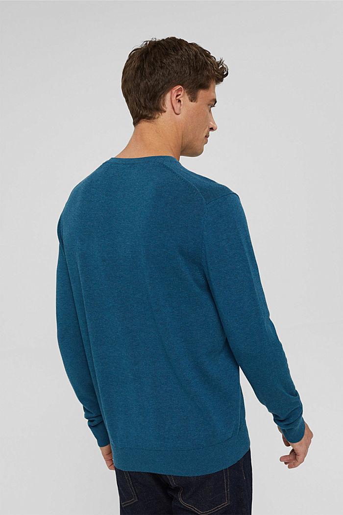 V- Neck Pullover aus 100% Pima Cotton, PETROL BLUE, detail image number 3