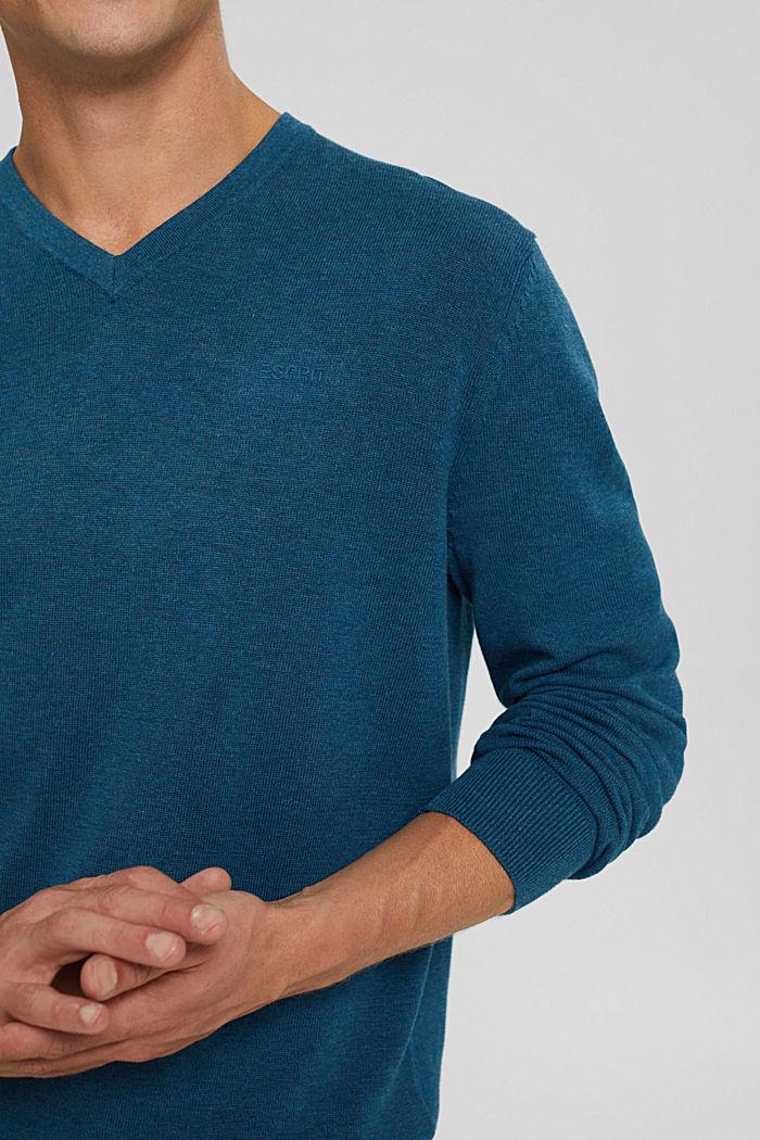 V- Neck Pullover aus 100% Pima Cotton, PETROL BLUE, detail image number 2