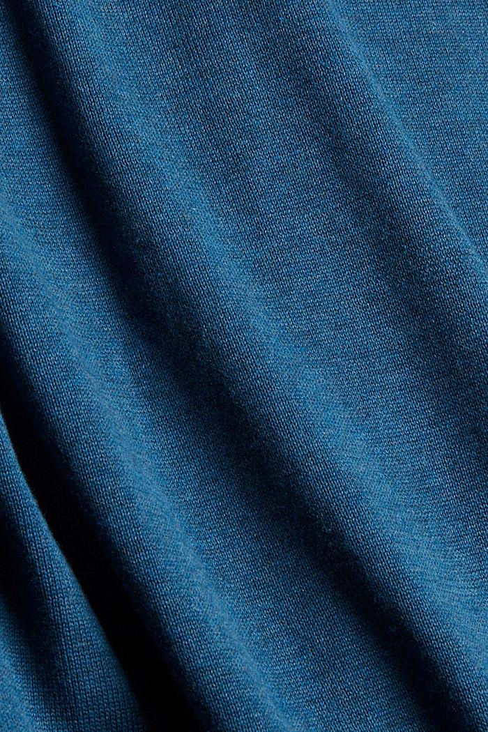 V- Neck Pullover aus 100% Pima Cotton, PETROL BLUE, detail image number 4
