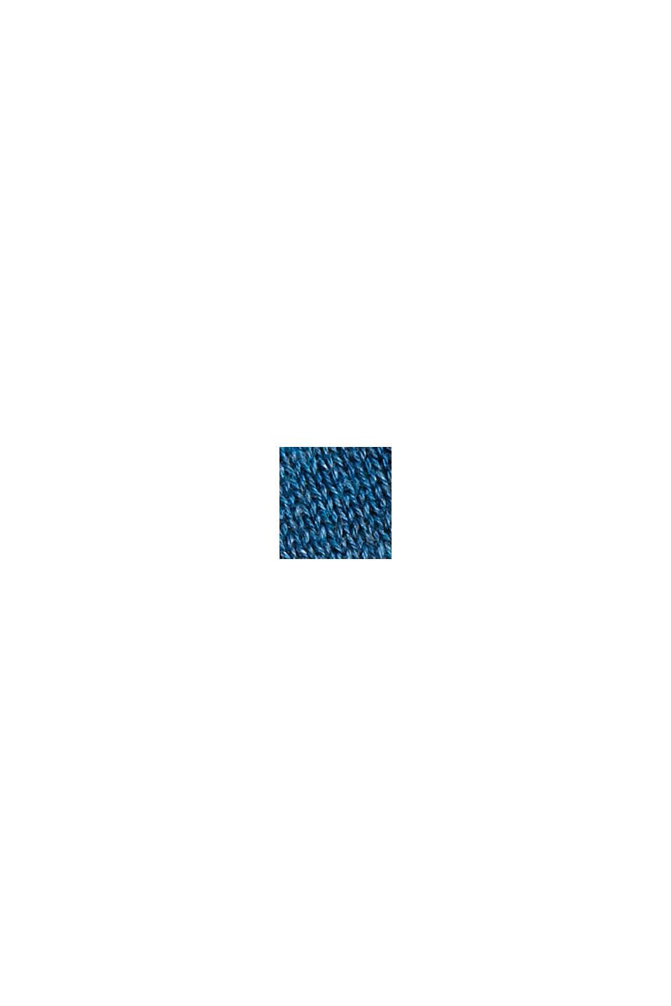 Pullover af 100% pimabomuld med V-udskæring, PETROL BLUE, swatch