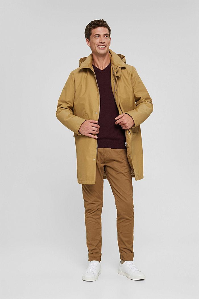 V- Neck Pullover aus 100% Pima Cotton, BORDEAUX RED, detail image number 1