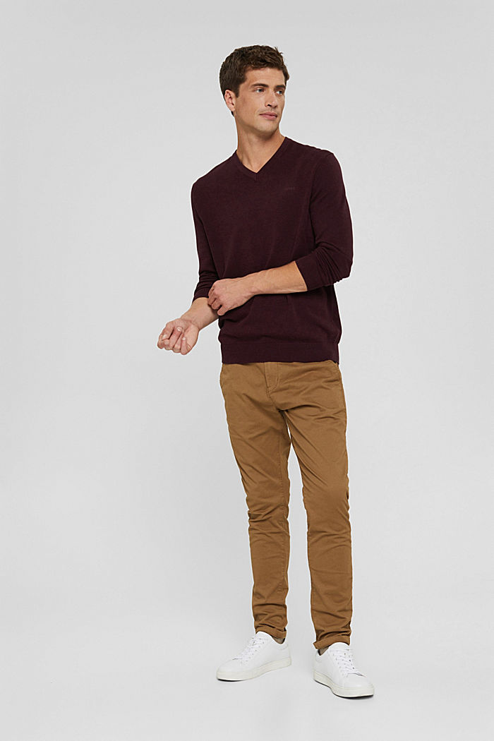 V- Neck Pullover aus 100% Pima Cotton, BORDEAUX RED, detail image number 6