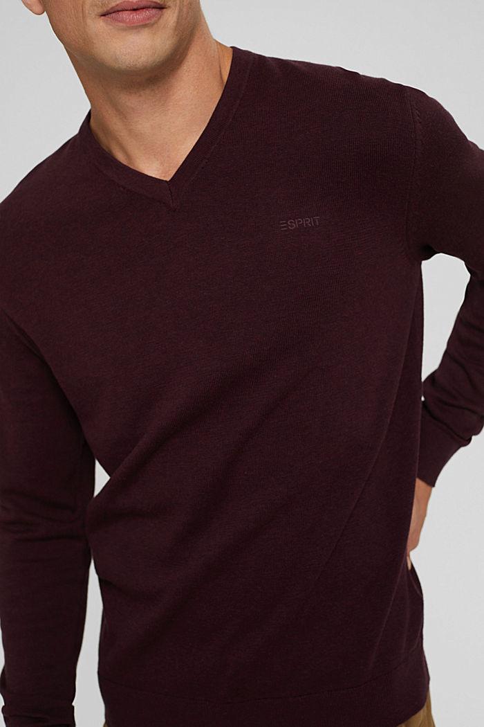 V- Neck Pullover aus 100% Pima Cotton, BORDEAUX RED, detail image number 2