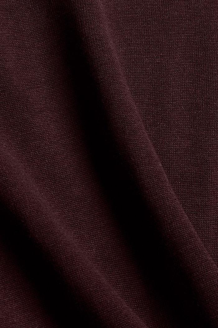 V- Neck Pullover aus 100% Pima Cotton, BORDEAUX RED, detail image number 4