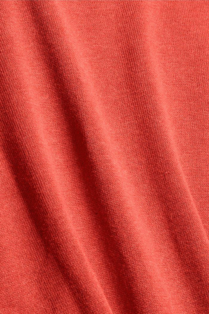 Trui met V-hals van 100% pima katoen, ORANGE, detail image number 4