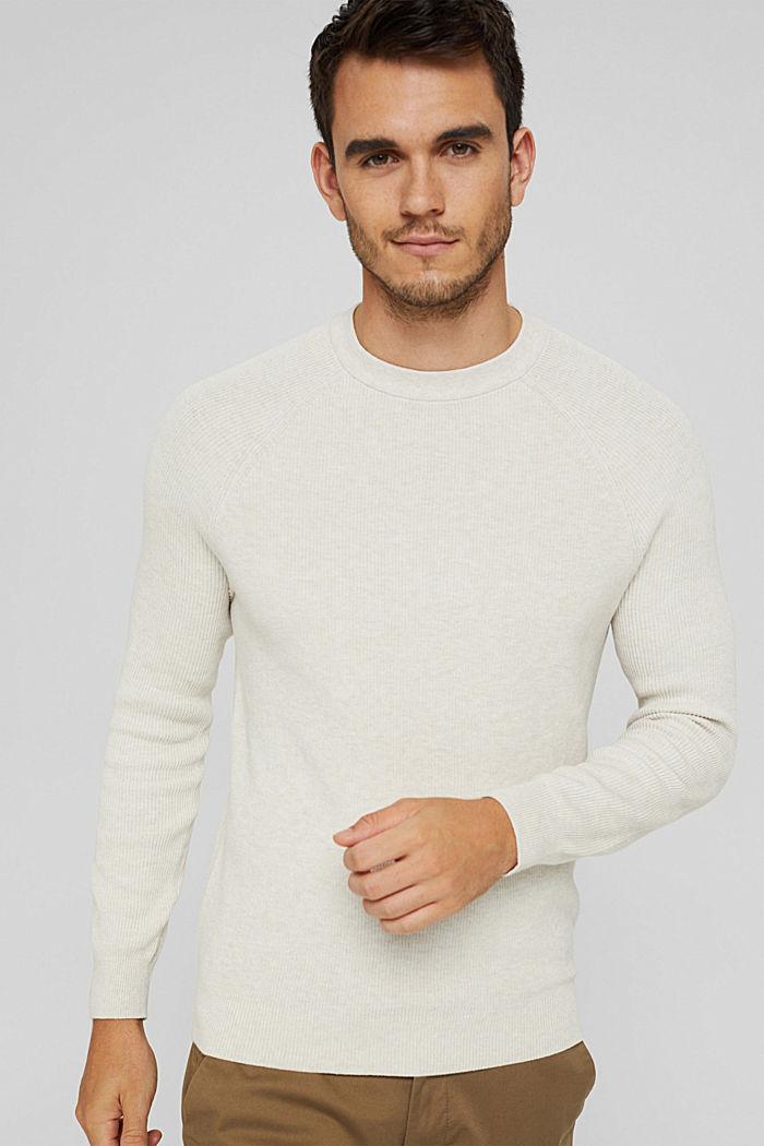 Rippstrick-Pullover aus 100% Bio-Baumwolle, OFF WHITE, detail image number 5