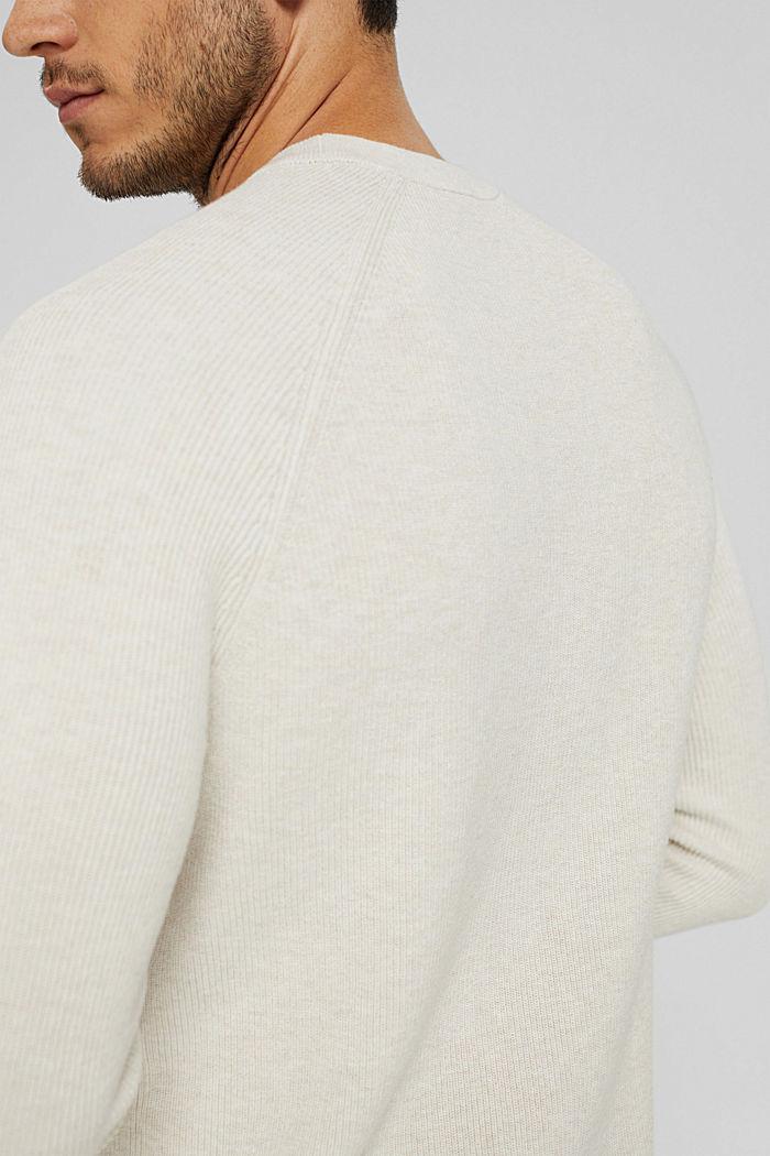 Rippstrick-Pullover aus 100% Bio-Baumwolle, OFF WHITE, detail image number 2