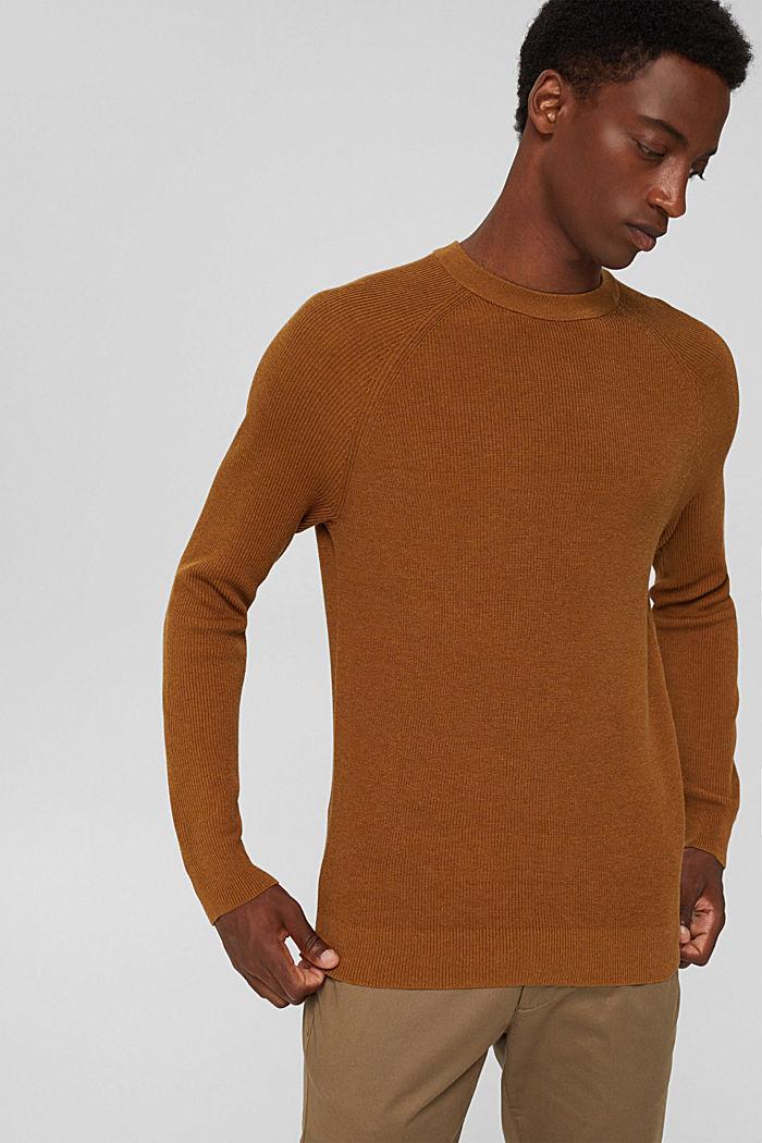 Rippstrick-Pullover aus 100% Bio-Baumwolle, CAMEL, detail image number 0