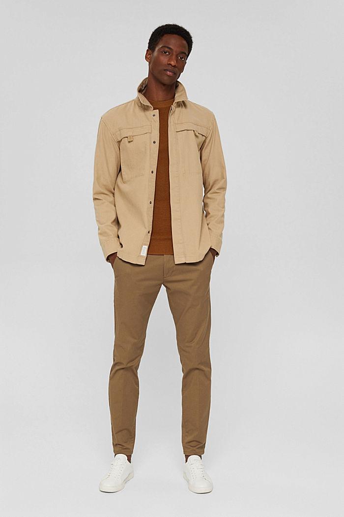 Rippstrick-Pullover aus 100% Bio-Baumwolle, CAMEL, detail image number 1