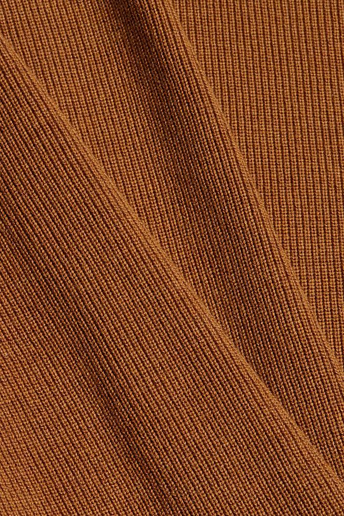 Rippstrick-Pullover aus 100% Bio-Baumwolle, CAMEL, detail image number 4