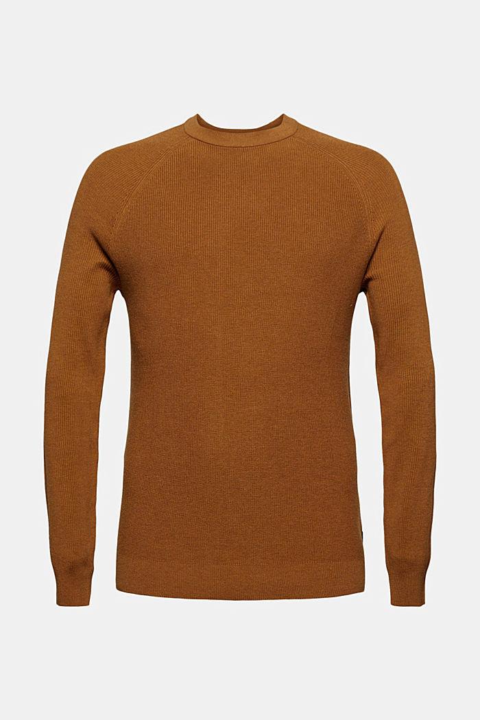 Rippstrick-Pullover aus 100% Bio-Baumwolle, CAMEL, detail image number 5