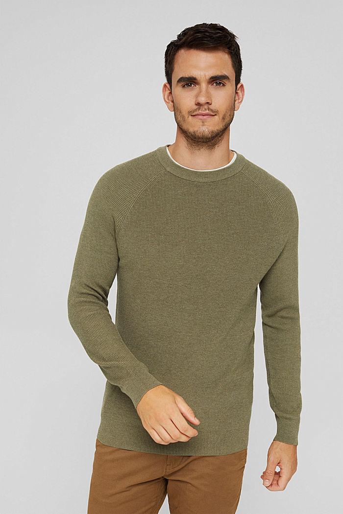 Rippstrick-Pullover aus 100% Bio-Baumwolle, PALE KHAKI, detail image number 0