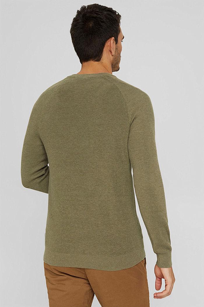 Rippstrick-Pullover aus 100% Bio-Baumwolle, PALE KHAKI, detail image number 3