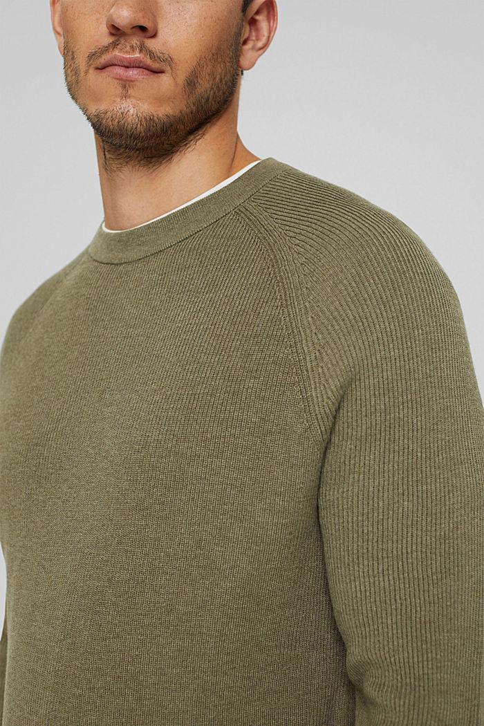 Rippstrick-Pullover aus 100% Bio-Baumwolle, PALE KHAKI, detail image number 2